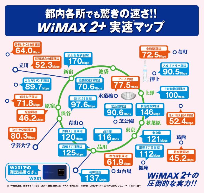 WiMAXの東京都内実測マップ