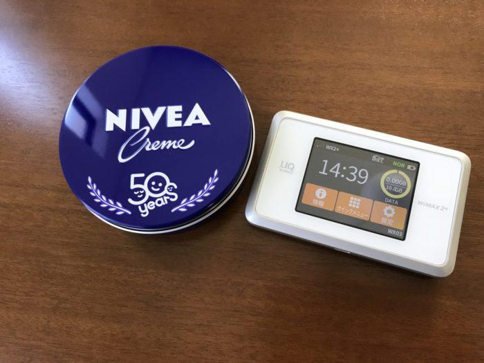 ニベアとWiMAXの大きさ比較