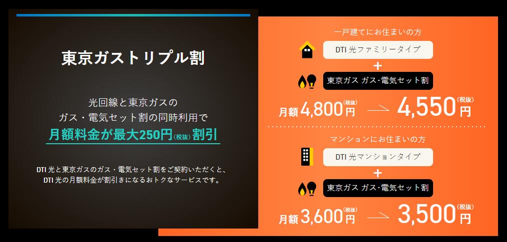 東京ガスとDTI光のセット割