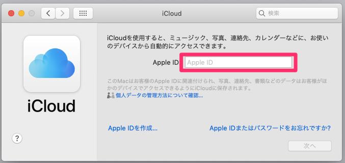 Apple ID入力